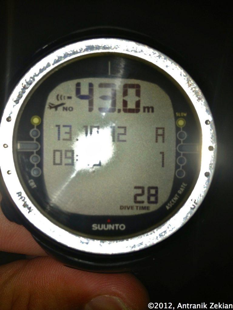 43 mètres de profondeur: mon maximum atteint lors de ma descente au Blue Hole