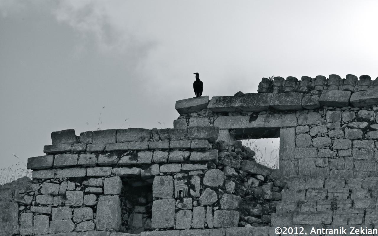 Mur de l'un des temples à Chichen Itza